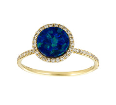 Yellow Gold Australian Opal and Diamond Ring