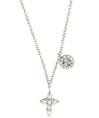 Baby Cross in Diamonds with Disc Accent Necklace