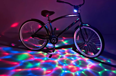 Boom Brightz Red Green Blue, Blinking Rechargeable LED Bicycle Accessory with Bluetooth Speaker