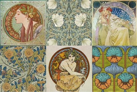 Art Nouveau Project Blocks Decoupage Paper-R