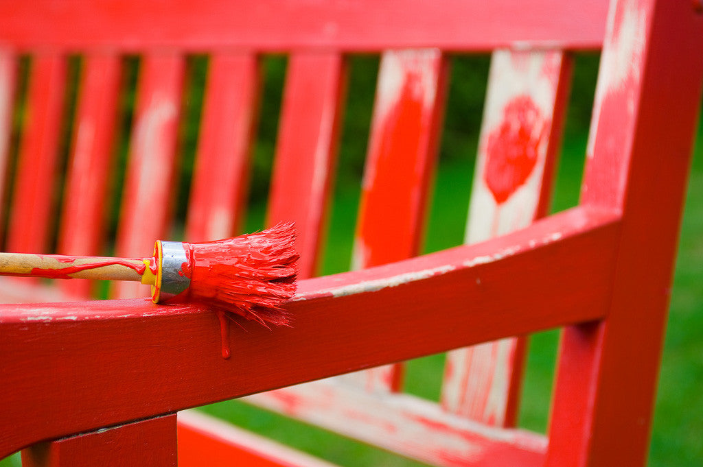 Red-painted-bench
