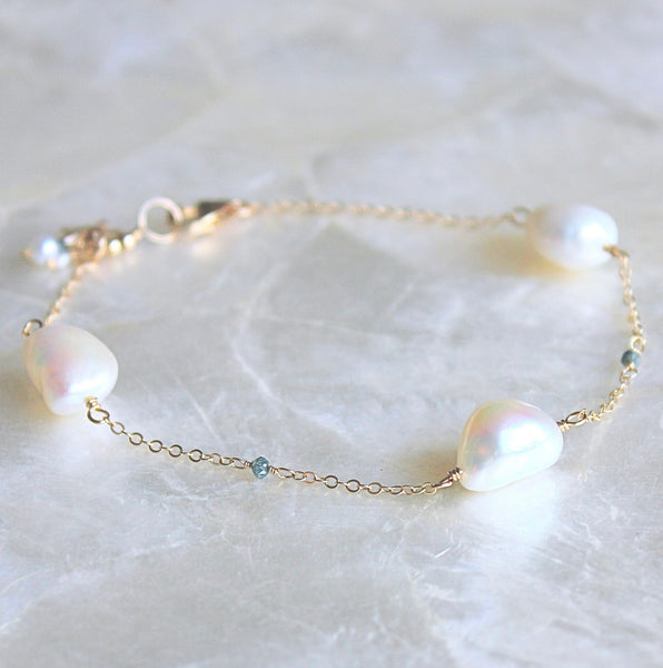 Faceted Blue Diamond and Baroque Pearl Station Bracelet