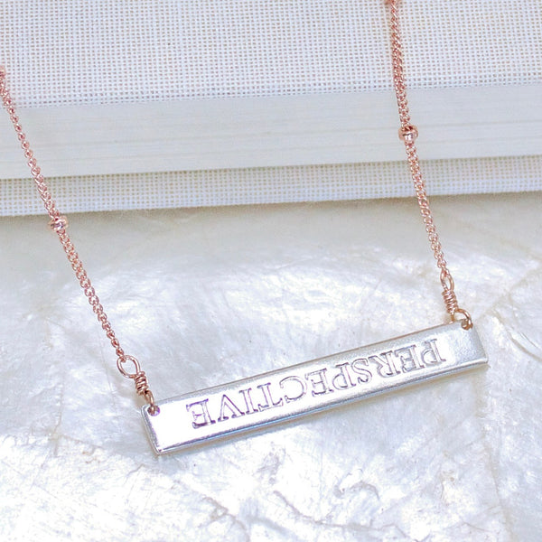 Perspective Inspiration Necklace in Fine Silver and 14kt Rose Gold Fill