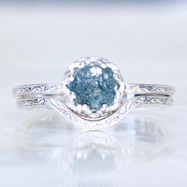 Engraved Raw Rough Uncut Blue Diamond and Sterling Silver Bridal Set
