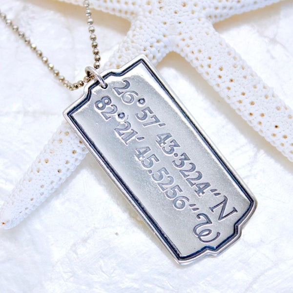 Latitude and Longitude Dog Tag Necklace in Sterling Silver