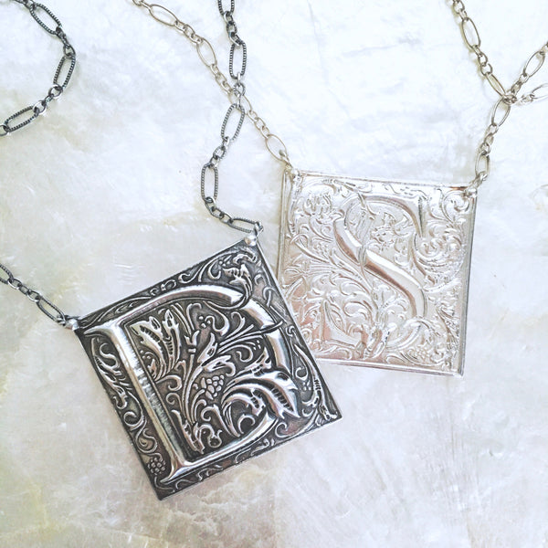 Ornate Goudy Cloister Initial Necklace in Sterling Silver