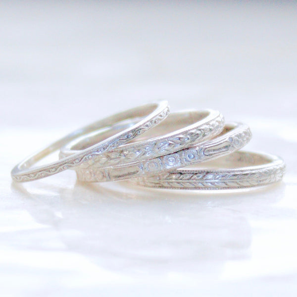 Engraved Vintage Pattern Wedding Bands