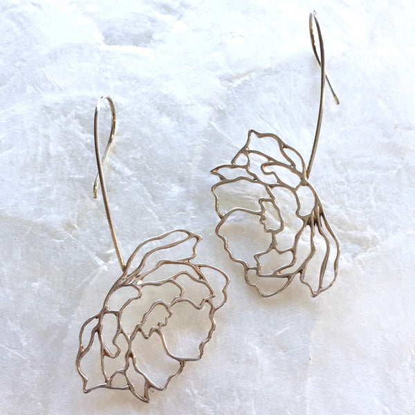 Openwork Peony Dangle Earrings in Sterling Silver