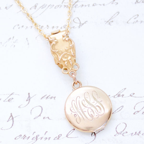 Reimagined Antique Gold Filled Locket and Watch Fob Necklace
