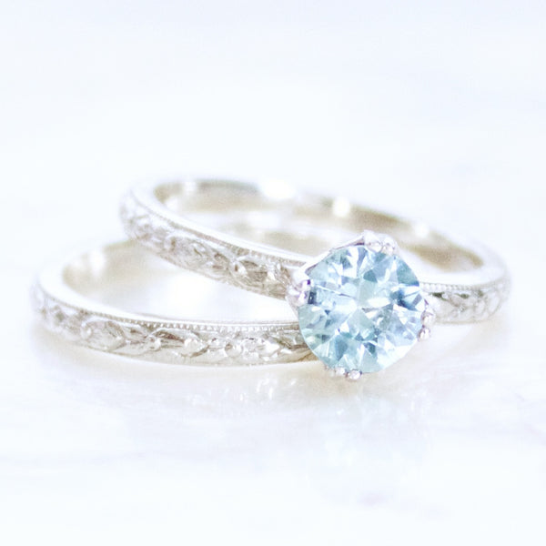 Engraved Natural Blue Zircon and Sterling Silver Bridal Set