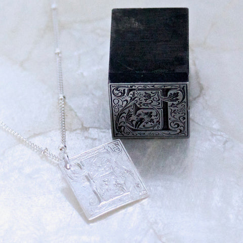 Small Goudy Cloister Initial Necklace
