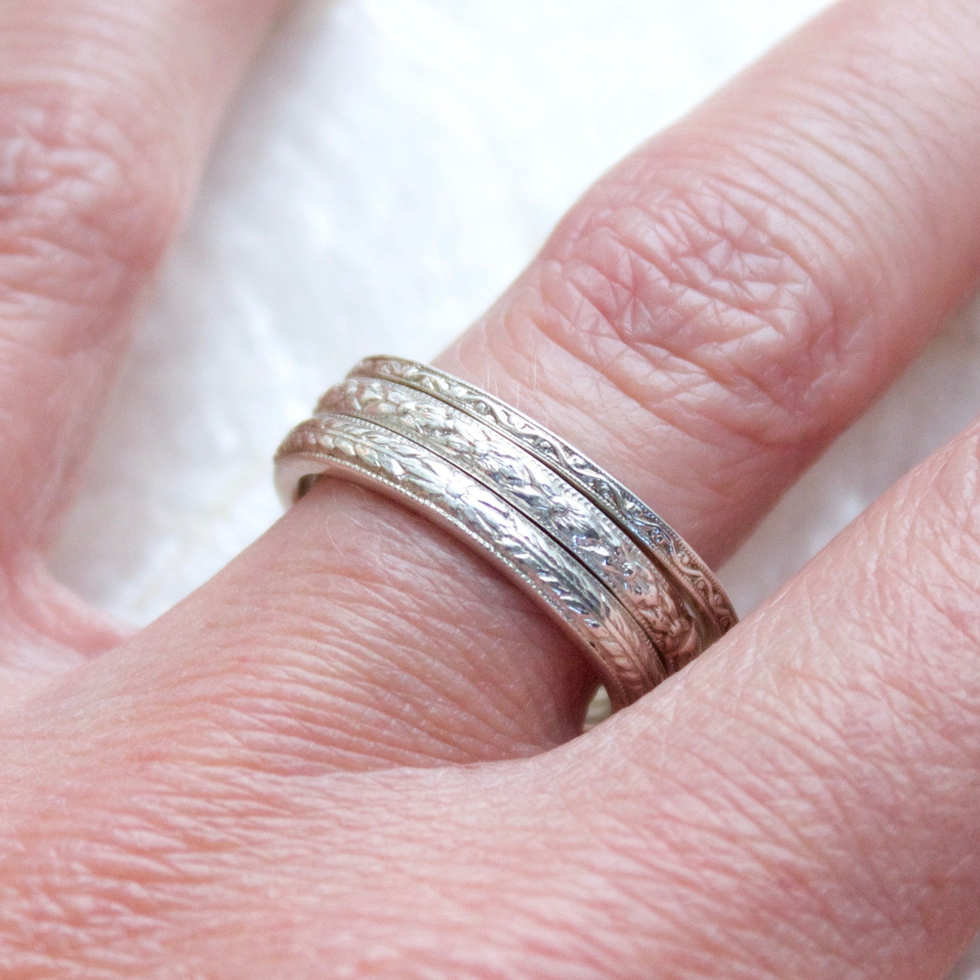 Lagom Engraved Antique Pattern Stacking Rings - SSMDesign