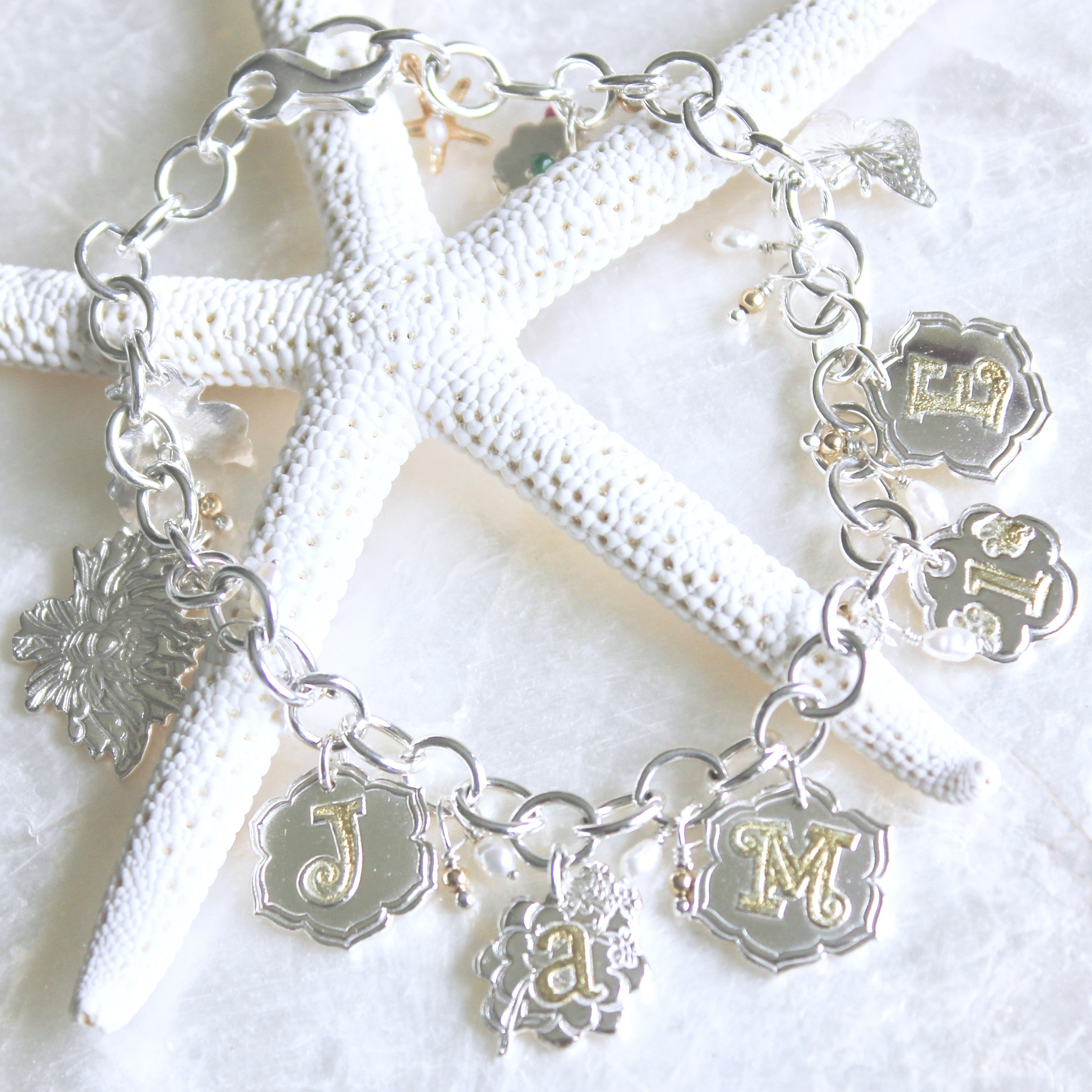 Personalized Baby Name Charm Bracelet In Fine And Sterling Silver