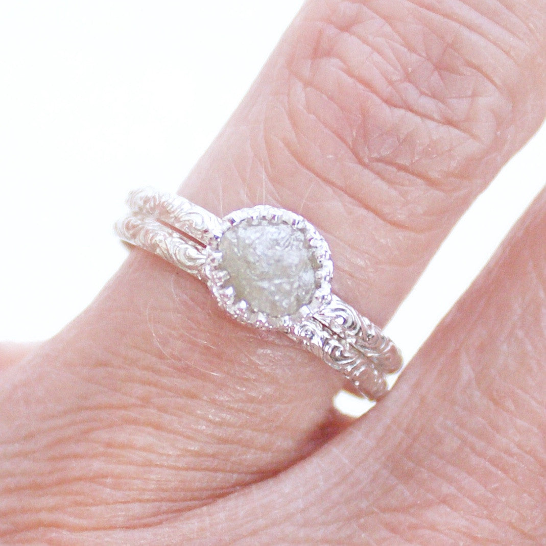 Vintage Inspired Raw Uncut Diamond and Sterling Silver Wedding Set ...