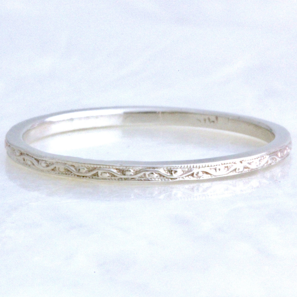 Engraved 1 5mm Scrolling Vine Curved Or Straight Wedding Band
