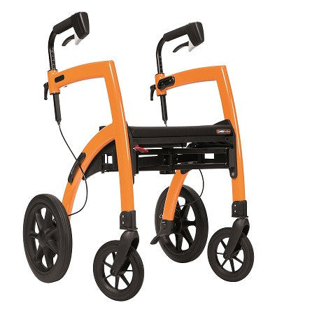 Rollz Motion - 2-in-1 Transport Chair and Rollator - Orange - Boomly