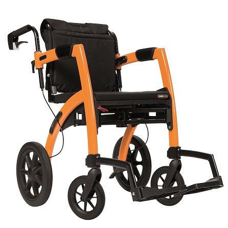 Rollz Motion Transport Chair and Rollator - Orange - Boomly