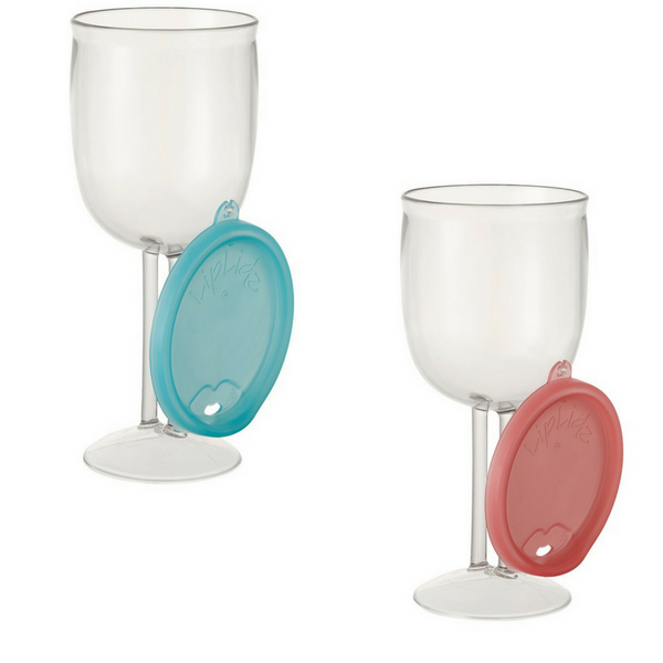 LipLidz Wine Glass 2 Pack - Teal and Watermelon - Boomly