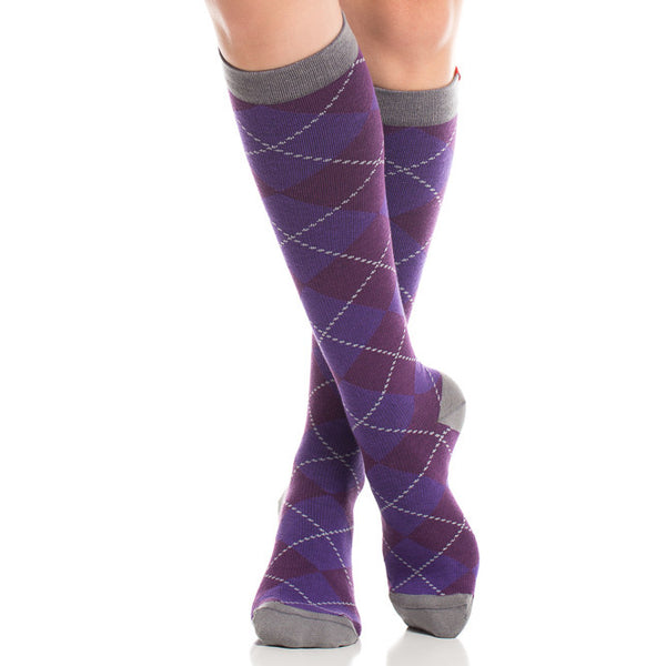 Fashion purple argyle compression socks - Vim & Vigr - Boomly