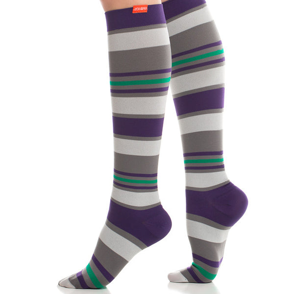 Fun purple striped compression socks - Vim & Vigr - Boomly