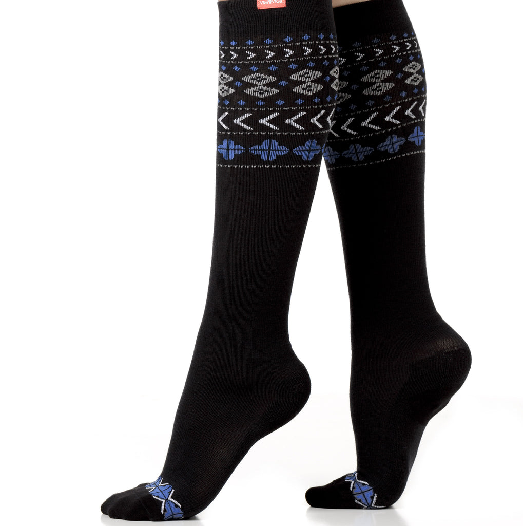 Stylish fair isle compression socks - Vim & Vigr - Boomly