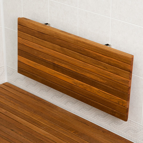 Folding Wall Mounted Teak Shower Seat - Teakworks4u - Boomly