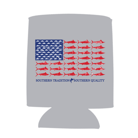 Moxie & Co. Red, White, & Blue Marlin Koozie