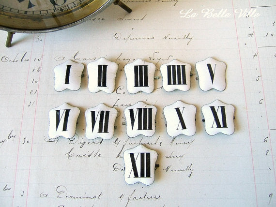 Antique French Enamel Clock Numbers