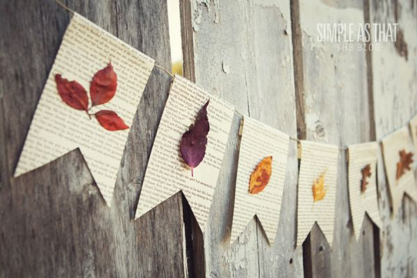 Book Page Garland with Fall Leaves