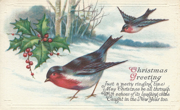 Victorian Christmas Card with Birds Plus More Free Printables