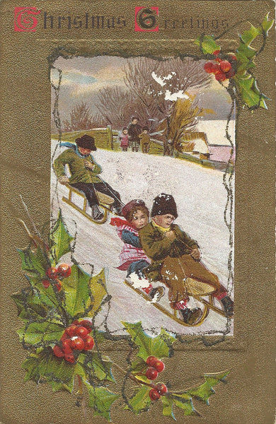 Victorian Christmas Card with Sled Riders