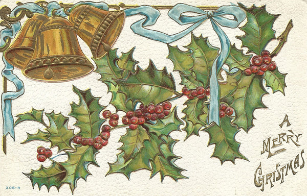 Victorian Card with Christmas Bells Plus More Free Clipart