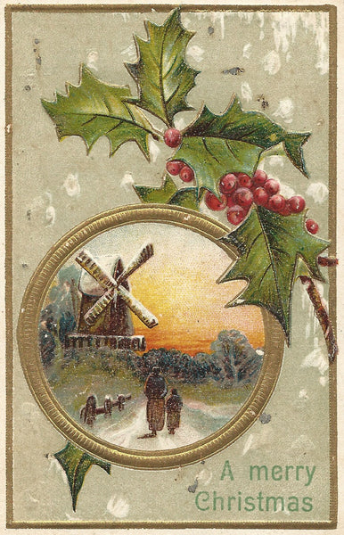 Victorian Christmas Card with Windmill and Holly