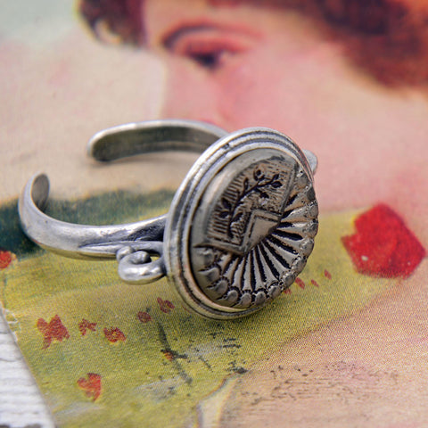 Victorian Button Ring - Silver Floral Ring with Rays