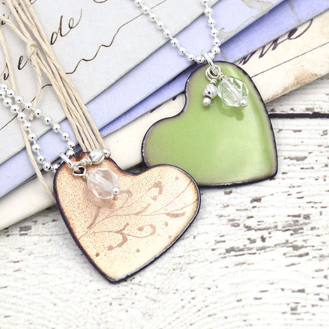 Reversible Etched Enamel Heart Necklace