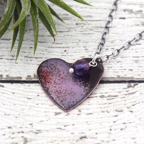 Enamel Heart Necklace with Stamped Back