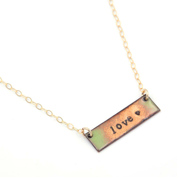 14K Gold Fill Love Bar Necklace