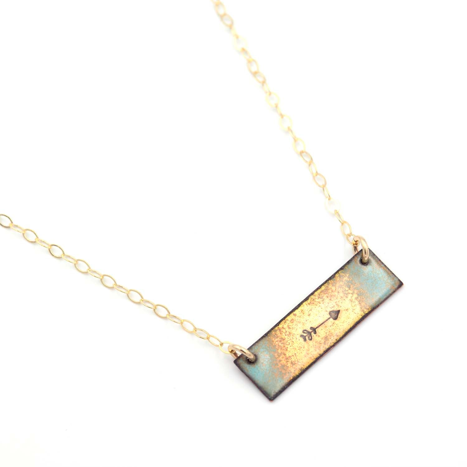 14K Gold Fill Arrow Bar Necklace