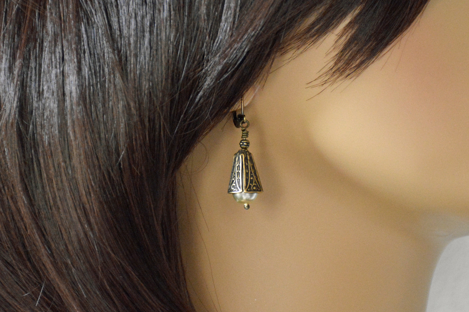Victorian Style Handmade Pearl Earrings in Antique Gold