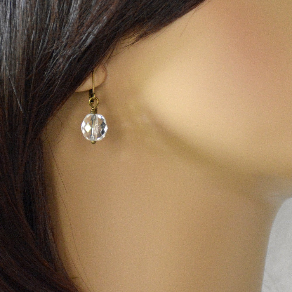 Dipped Gold or Silver Crystal Earrings