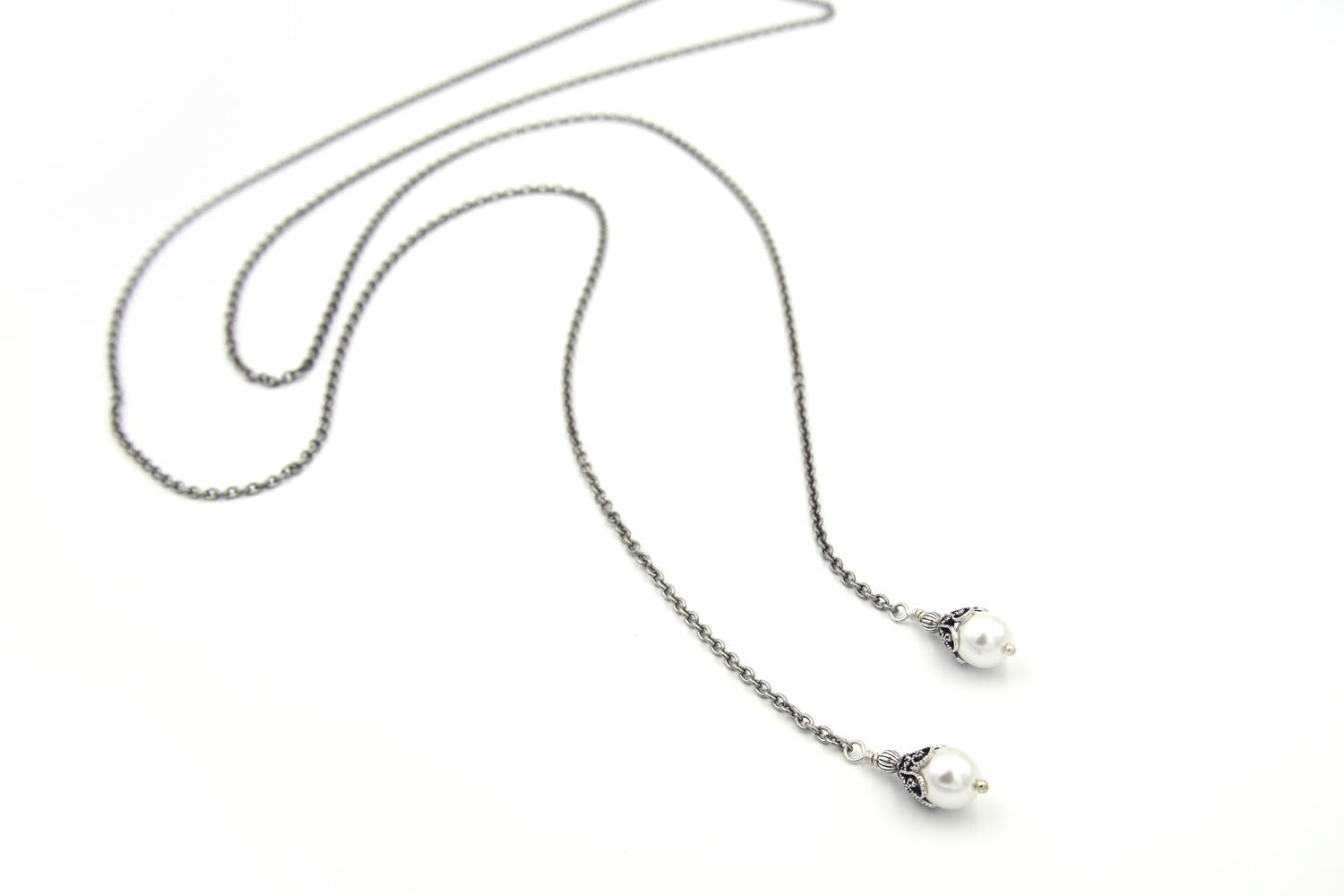 Long Silver Lariat Necklace with Pearls