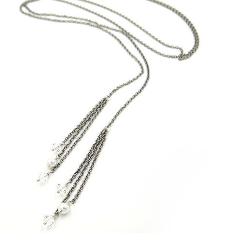 Long Antique Silver Tassel Lariat