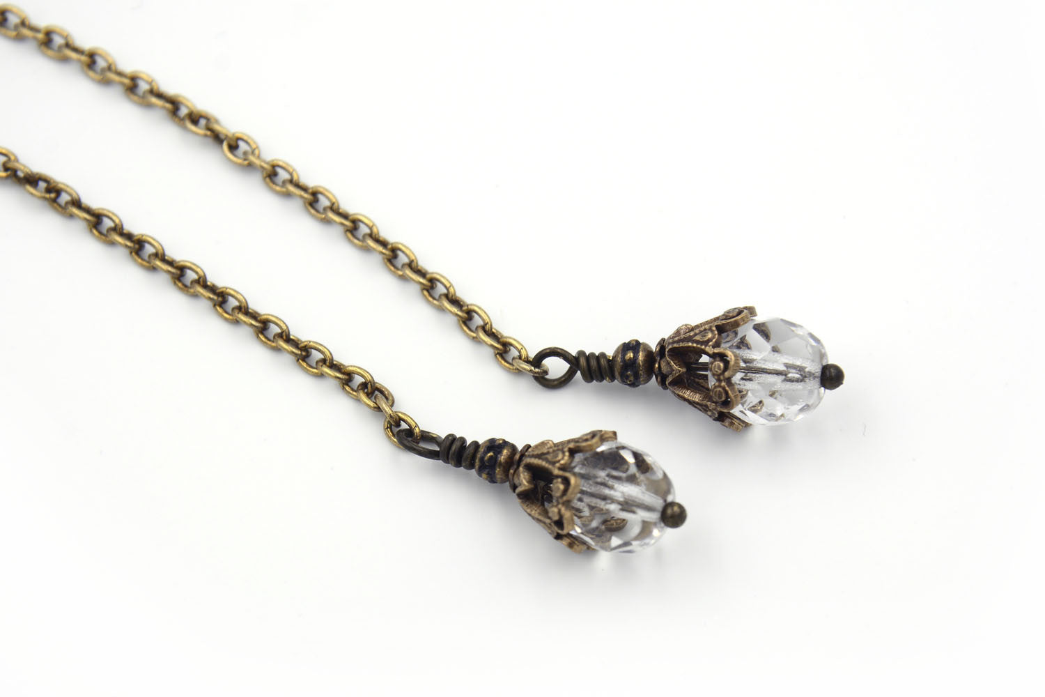 Mid-length Gold Lariat Necklace with Crystals