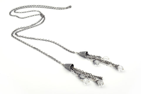 Mid-length Silver Lariat Necklace with Victorian Tassels