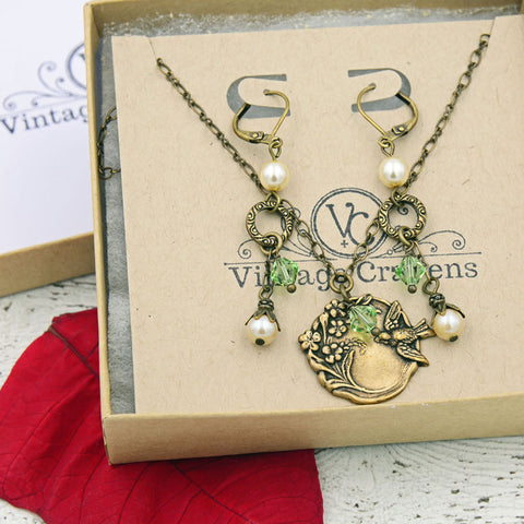 Birthstone Necklace and Earrings Set - Gifts for Her