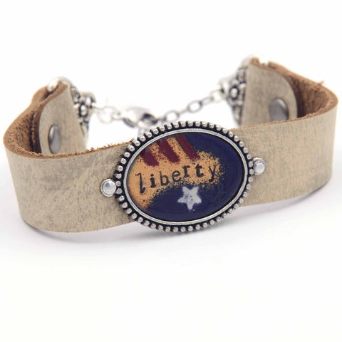 Liberty Enamel Leather Cuff Bracelet