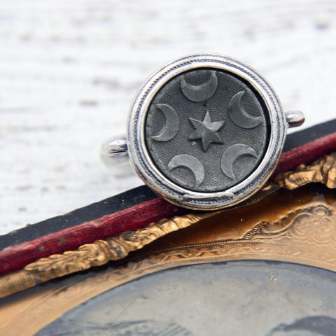 Victorian Button Ring - Moon and Stars Ring
