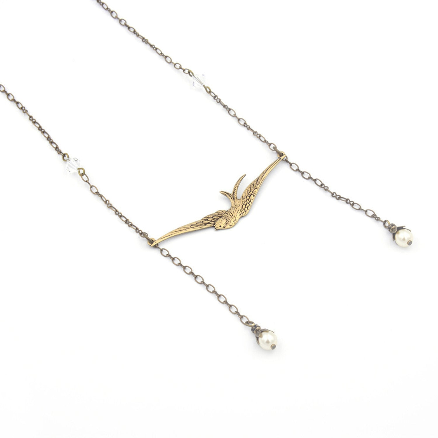 Swallow Necklace in Antique Gold or Silver
