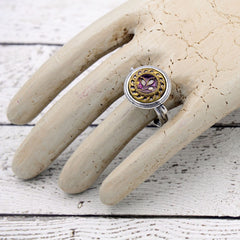 Victorian Button Ring - Purple Flower Ring
