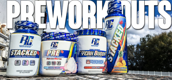 Ronnie Coleman Signature Series pre workout formulas powders and pills for energy focus and pump
